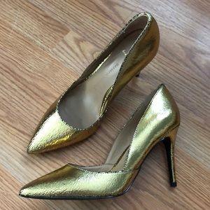 "NEW Banana Republic Gold Metallic 3.5"" Heels 7.5"
